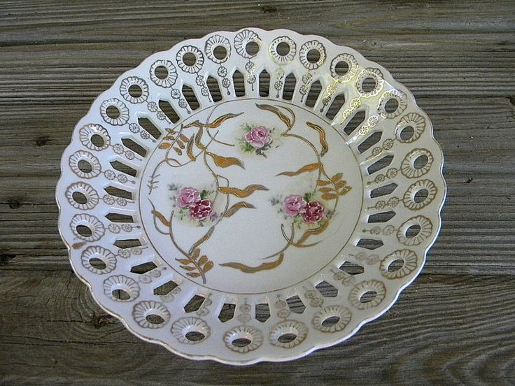 Reticulated dish pink roses nd gold trim wall decor or bowl vintage by…