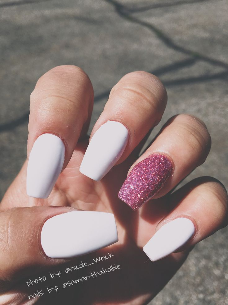 LOVE these Matte White Nails with Sparkly Pink Ballerina Shoe/Coffin Shape The Perfect Summer nail!  Northern Utah Fig Salon Nails by: Samantha Jenkins  Insta: @samanthakolbie Photo By: Nicole Weick Insta: @nicole_weick