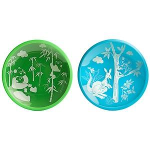 plates.: Pandas Plays, Dish Sets, Friends Blue, Koalas, Plates Sets, Temperance Glasses, Baby, Plays Green, Dishes Sets