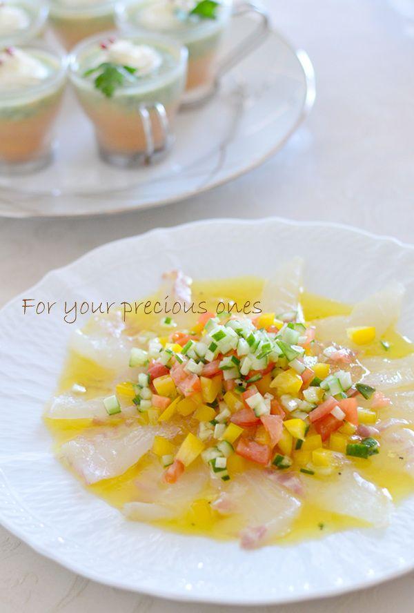 真鯛のカルパッチョ 彩り野菜とオレンジのドレッシング by こゆり ...