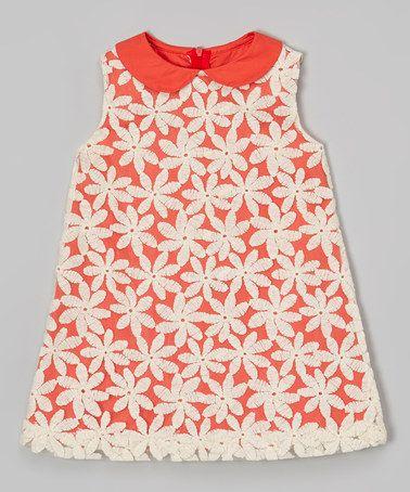 White & Orange Daisy Dress - Infant & Toddler on #zulily! #zulilyfinds