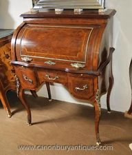 French Louis XV Roll Top Desk Bureau Table