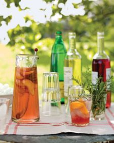 Peach and rosemary wine spritzers
