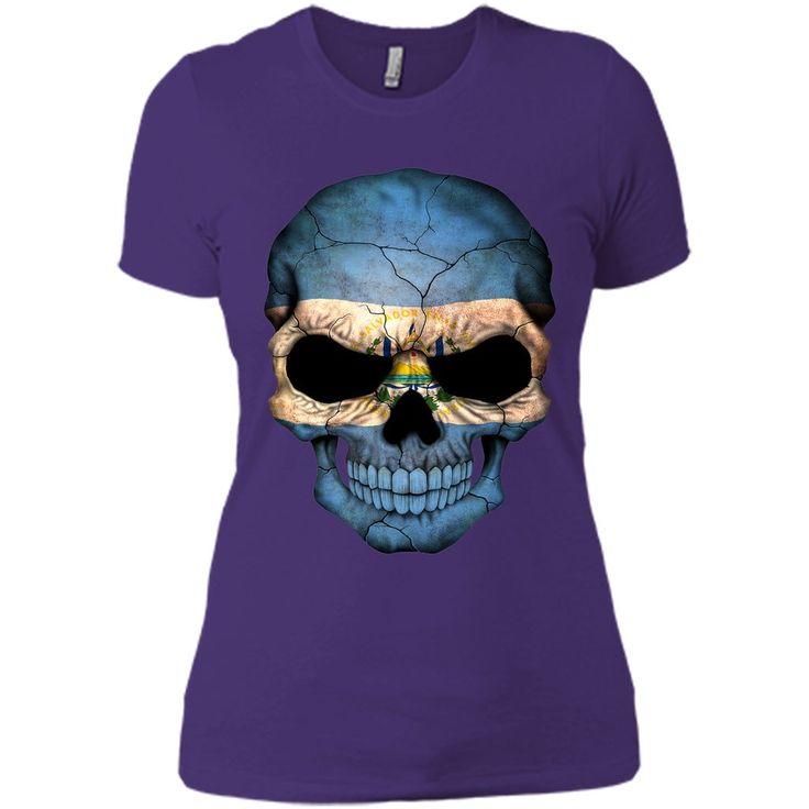 El Salvador Flag Skull El Salvador T-Shirt
