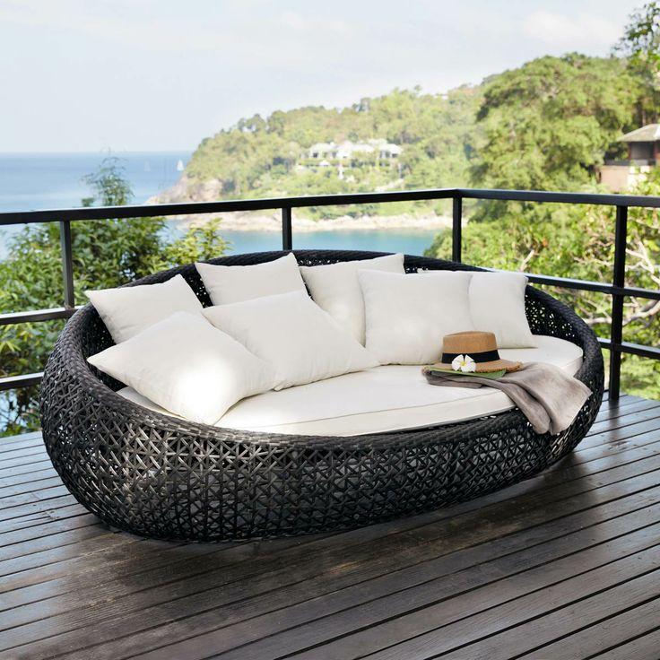 Lounge-Insel geflochten schwarz DURBAN | Outdoor living | Pinterest ...