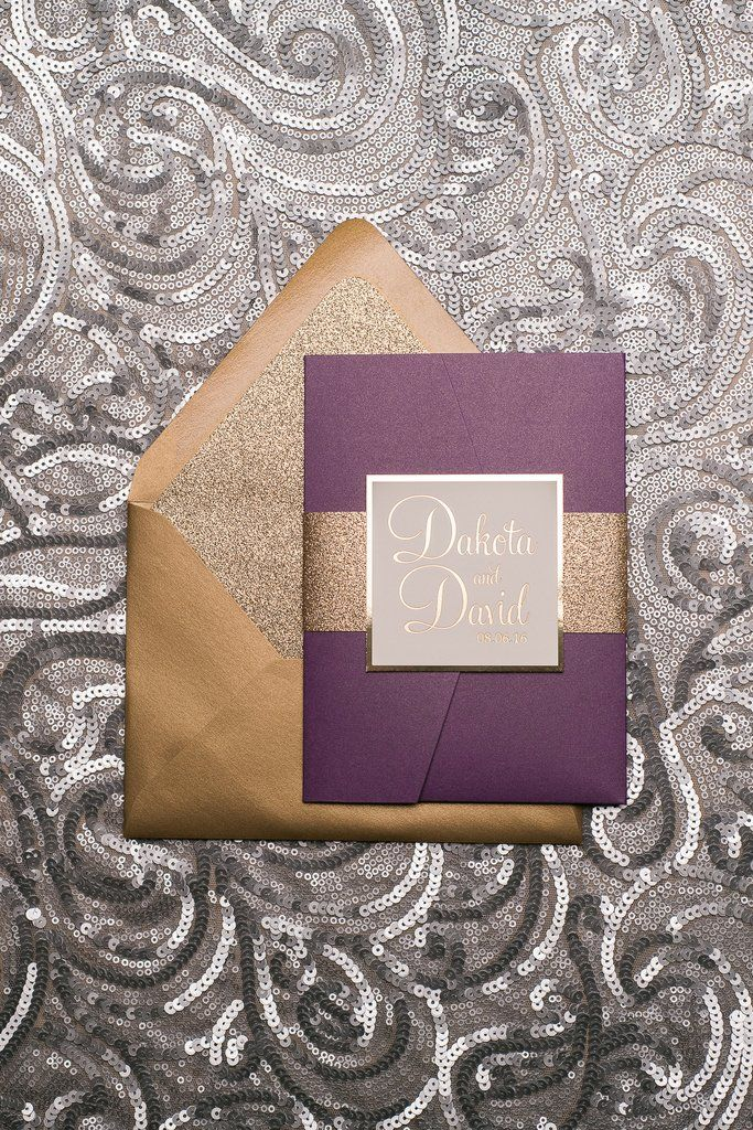 BAILEY Suite Glitter Pocket Folder Package, Purple And Gold Glitter Wedding  Invitations, Gold Foil
