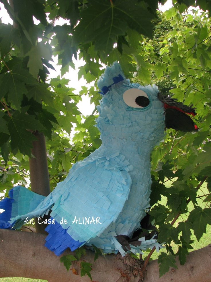 Blue Macaw piñata for a Rio theme birthday party. Any questions, let me know. I had fun making this piñata.