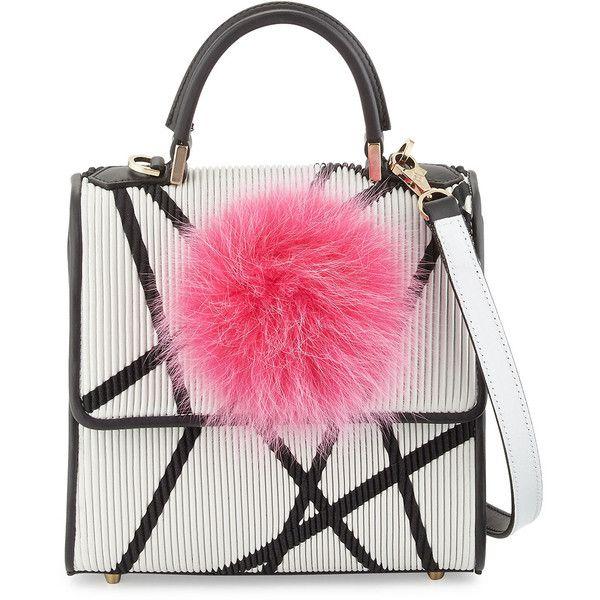 Les Petits Joueurs Alex Mini Bunny Shoulder Bag found on Polyvore featuring bags, handbags, shoulder bags, purses, zipper flap purse, mini shoulder bag, pink purse, fur purse и mini handbags