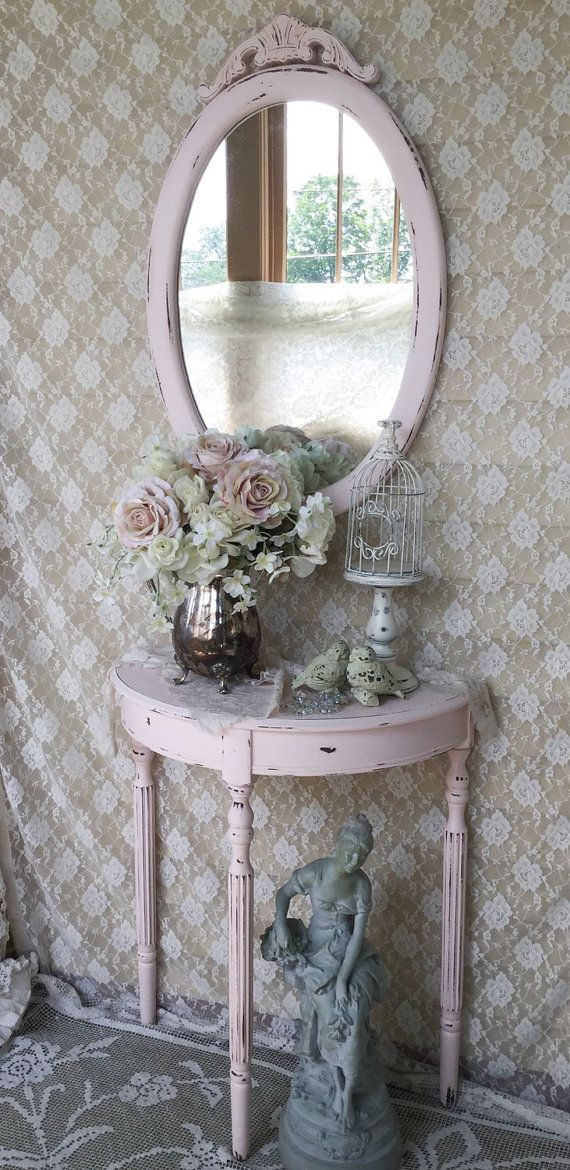 Shabby Pink Demilune Table and Mirror,Half Round Table,Console Table, entry table and mirror,accent table,shabby cottage chic