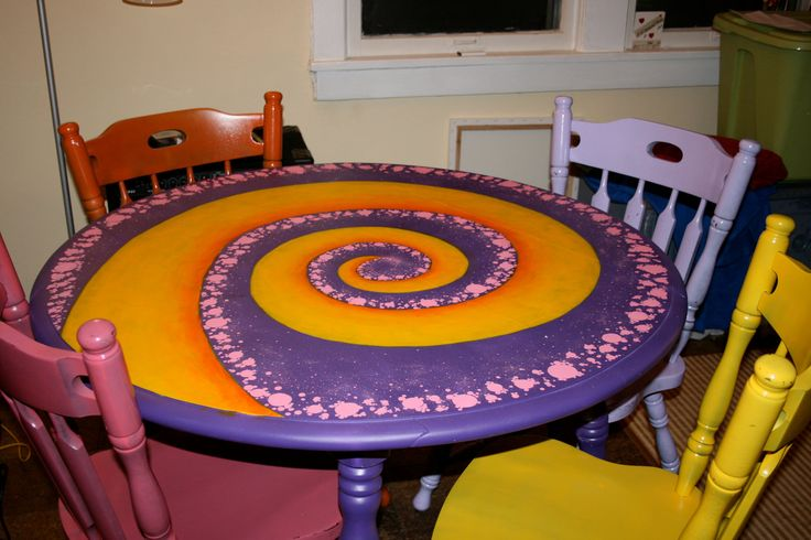 painted tables | Hand painted kitchen table with matching chairs by BirnamWoodworks