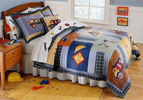construction time bedding for boys twin size 2pc quilt set kids construction bedspread luke. Black Bedroom Furniture Sets. Home Design Ideas