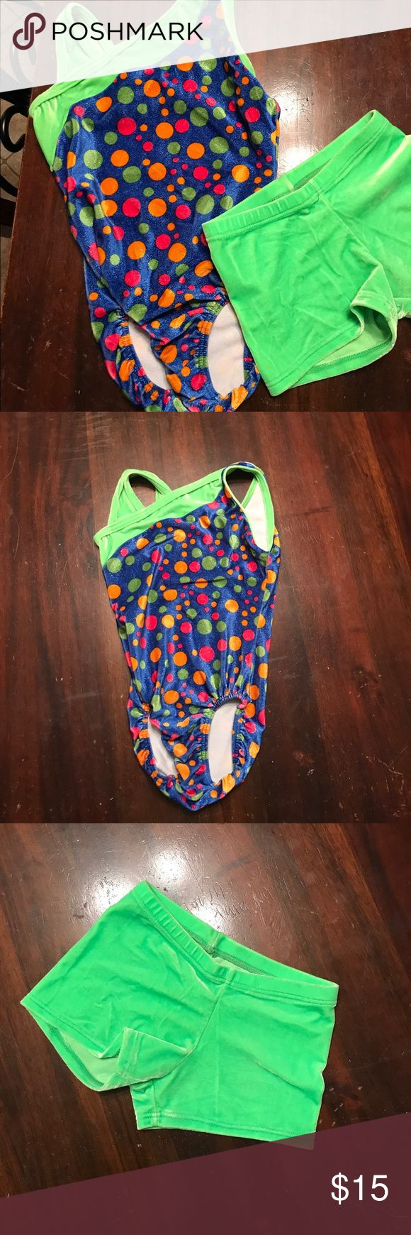 Gymnastics leotard with matching shorts, size M Blue MotionWear Gymnastics leotard with green trim and polka dots. Matching lime green shorts. Perfect for your little gymnast! 🤸🏻♀️ Both leo and shorts are by MotionWear and are a size Medium Child (8-10) MotionWear Other