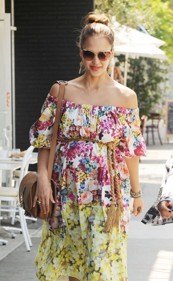 We're crazy about this floral off-the-shoulder dress! #maternity