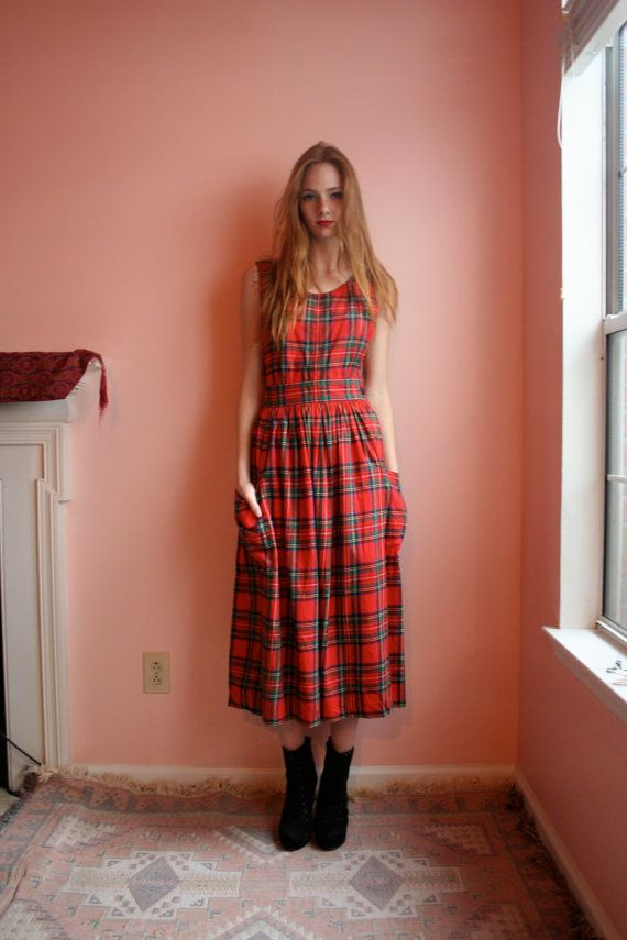 Vintage Pinafore Dress Tartan Plaid Red Dress School
