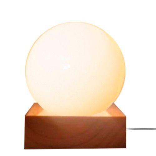 Velador Diseño Lampara De Mesa Esfera Globo Base Madera - $ 416,00