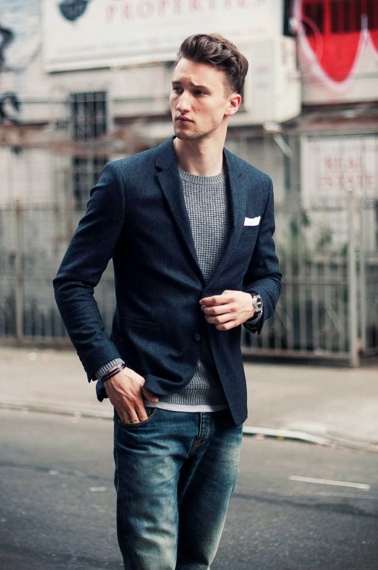 Consider Pairing A Navy Wool Sport Coat With Dark Blue Jeans For Your…