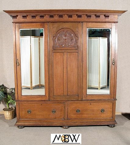 wardrobe armoire closet antique english solid oak. Black Bedroom Furniture Sets. Home Design Ideas