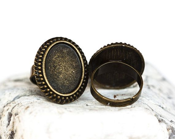 1341_Vintage oval blank rings, Adjustable size, Oval tray caboshon, Antique bronze oval ring, Gothic style,Bronze blank ring,24x20 mm_5 pcs.
