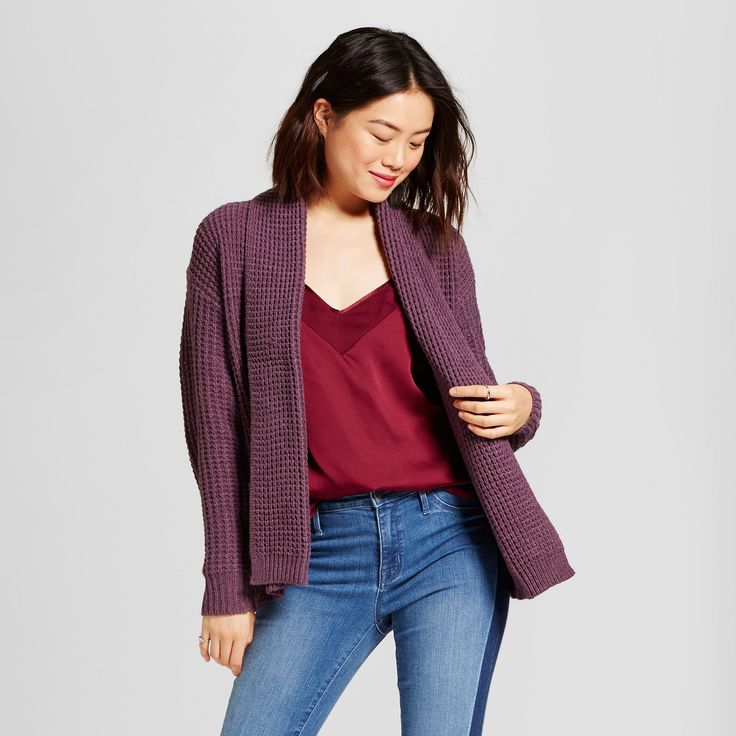 Women's Textured Open Layering Cardigan - A New Day Purple L