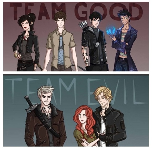 City of Lost Souls (TEAM GOOD= Isabelle Lightwood, Simon Lewis, Alec Lightwood & Magnus Bane) (TEAM BAD = Sebastion/Jonathan Morgernstern, Clary Fray/Morgernstern & Jace Herondale/Lightwood) Team Evil has confusing name issues! <3