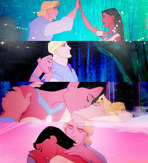 Pocahontas and John Smith.