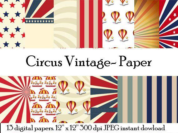 Circus Vintage Patterns Circus Digital Paper Vintage