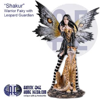 """Shakur"" Warrior Fairy with Leopard Guardian - Fairyland"