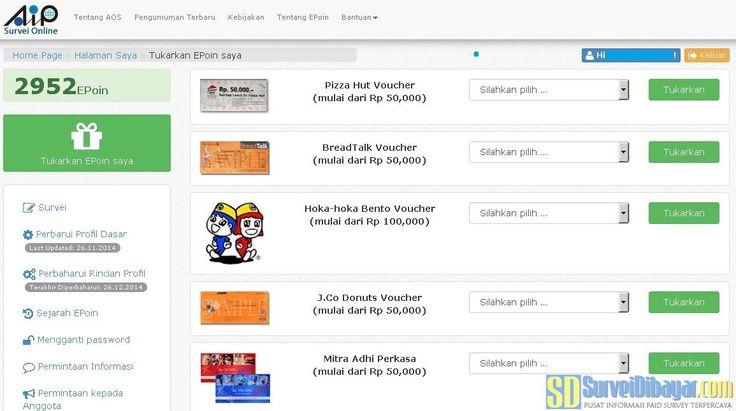Pilihan hadiah untuk penukaran EPOIN AIP Online Survey Indonesia | Survei Dibayar