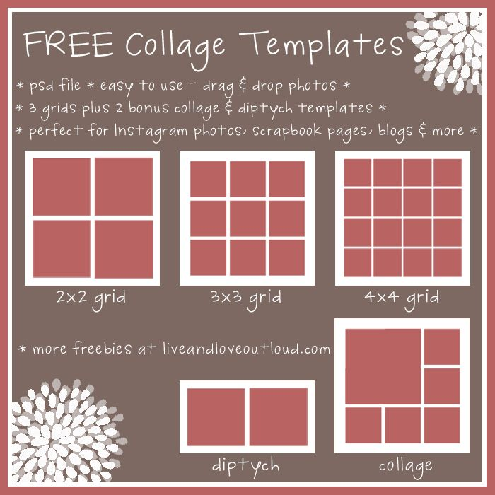 FREE Set of 5 Photo Collage Templates - easy to use, perfect for Instagram photos, scrapbook pages, blogs and more.