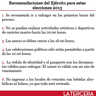 El domingo 17 de noviembre son las elecciones presidenciales y parlamentarias en #Chile, para lo cual el Ejército entregó una serie de recomendaciones para que el proceso se realice con total normalidad.
