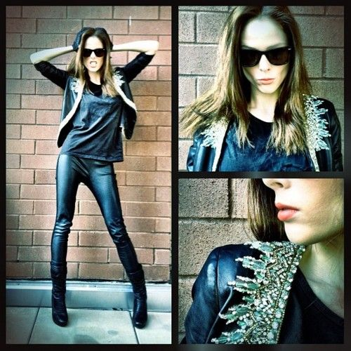 Changed clothes for the afternoon. Now wearing Reem Acra, Reiss and my favorite new Y-3 boots. #NYFW: Street Fashion, Black Leather Jackets, Reem Acra, Rocks On, The Rocks, Little Rocks, Cocorocha, Rocks And Rolls, Coco Rocha