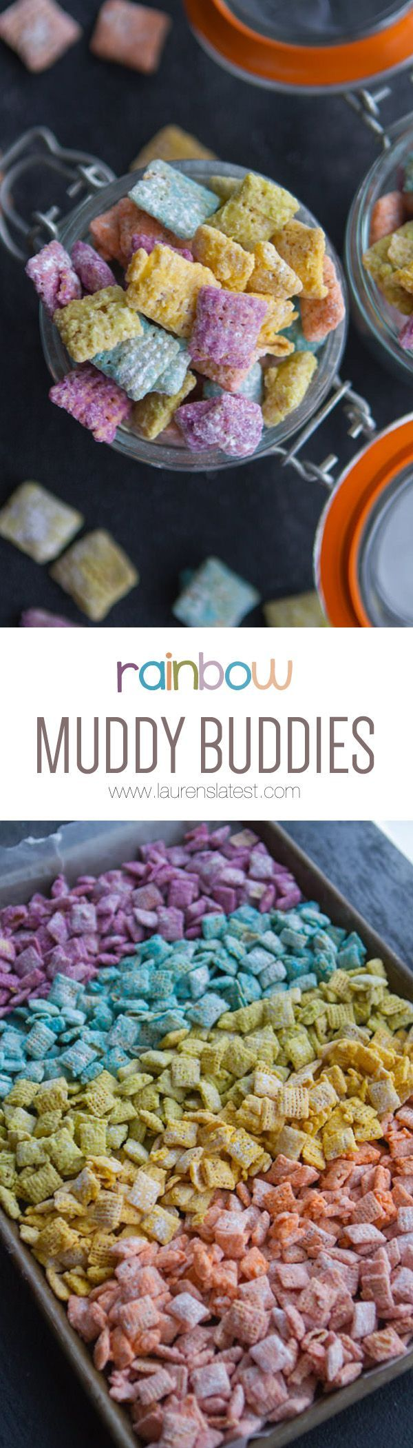 Rainbow Muddy Buddies! The perfect {and easiest} sweet treat to make EVER! Just pick up some colorful candy melts, Chex and powdered sugar! That's all you need! You're only minutes away from sweet snack heaven.