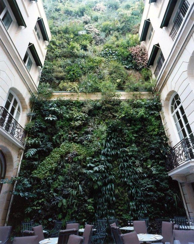 ♂ Green living wall vertical garden Andree Putman interiors - Pershing Hall hotel - Paris