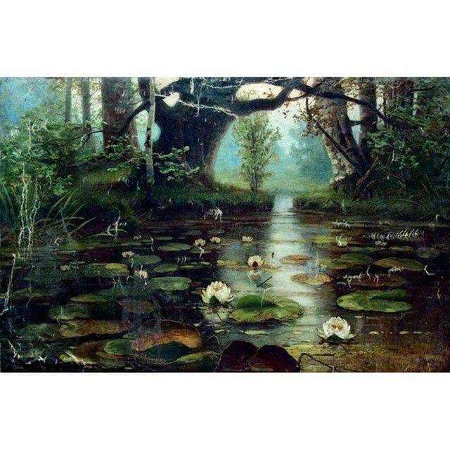 Юлий Клевер - Пруд с белыми лилиями (1893)