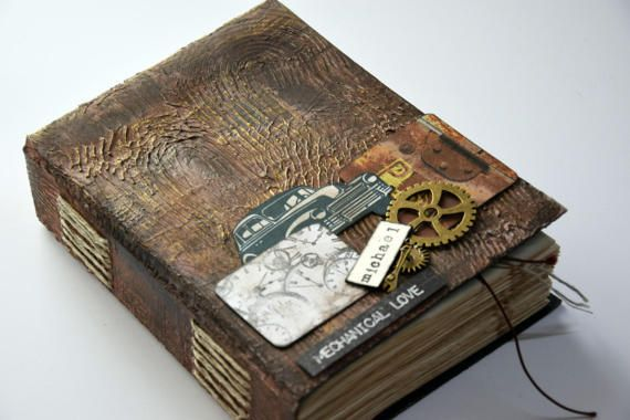 Men's handmade journal gift for him notebook by VictoriaWeddingArt