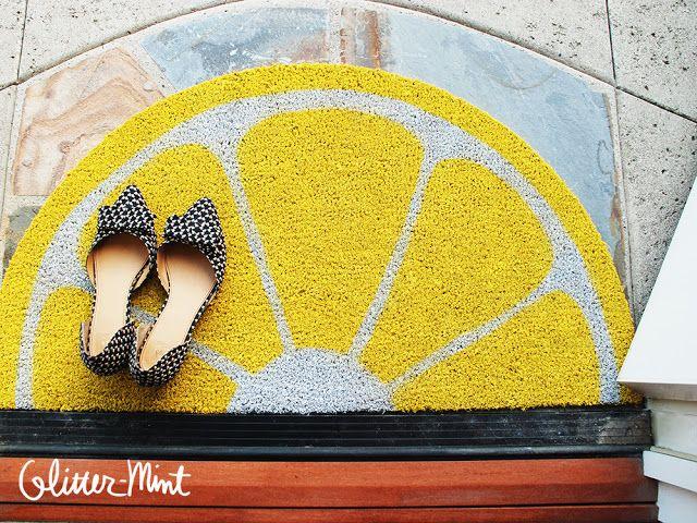 Glitter Mint: Painted Lemon and Cat Doormats