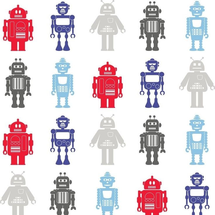 Fine Decor: Hoopla Robots Wallpaper White / Blue / Red (DL30722) - Childrens Wallpaper from I love wallpaper UK