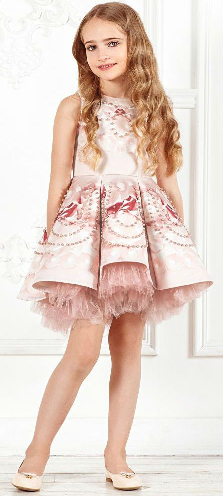 108360f08 JUNONA Girls Pink Beaded Rose Dress. Luxury Girls Fashion for Fall ...