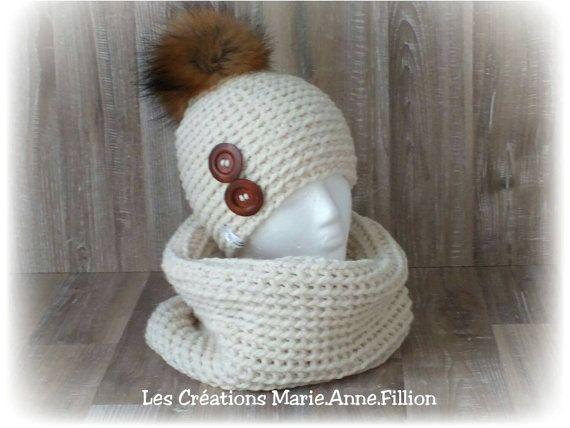 Ensemble Flocon tricoté à la main pompon fourrure de raton laveur