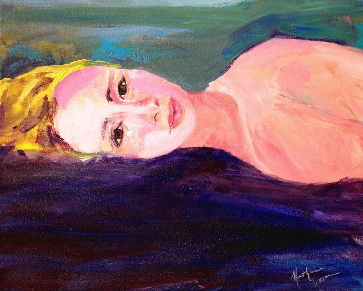 "Nathalie Voisine. Vêtue de rose. Acrylic on Canvas. 16x20""."