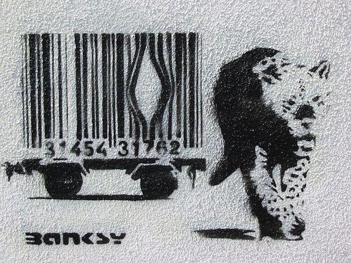 80 Oeuvres De L Artiste Banksy Qui Vous Feront Voir Le Monde D Une Autre Facon Streetart Les Animaux Sauvages Sont Nes Pou Street Art Banksy Art Banksy Banksy