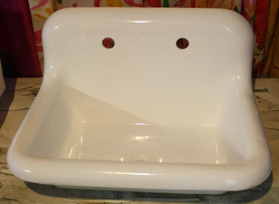 1930 39 s high back roll top roll rim bath sink farm sink 24x18 refinished in bright white. Black Bedroom Furniture Sets. Home Design Ideas