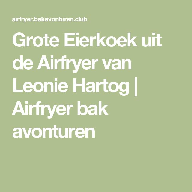 Grote Eierkoek uit de Airfryer van Leonie Hartog   Airfryer bak avonturen