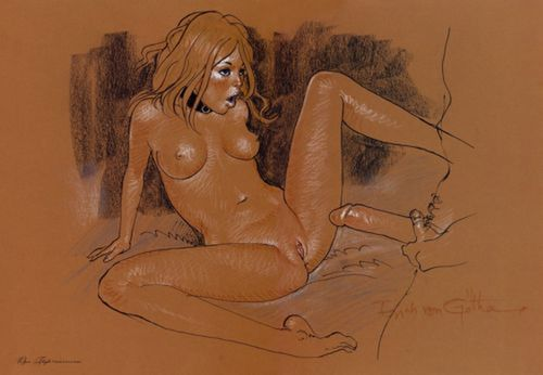 "eroticartrainbow: http://eroticartrainbow.tumblr.com/archive ARTIST: Baldur Grimm (aka - Erich Von Gotha)Erich von Götha (aka ""Erich von Gotha de la Rosière"") born in 1924 in London, UK, is the pseudonym of the British illustrator and comic book artist Robin Ray. Robin Ray has also worked under the pseudonyms Janssens, Baldur Grimm and Robbins. Robin Ray has gained fame with his erotic and above all sadomasochist content."