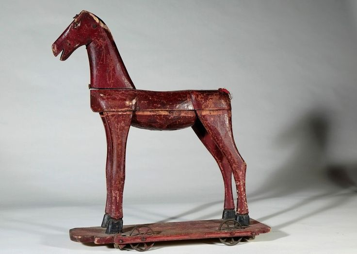Antique Wooden Hobby Horse Pull Toy - Red