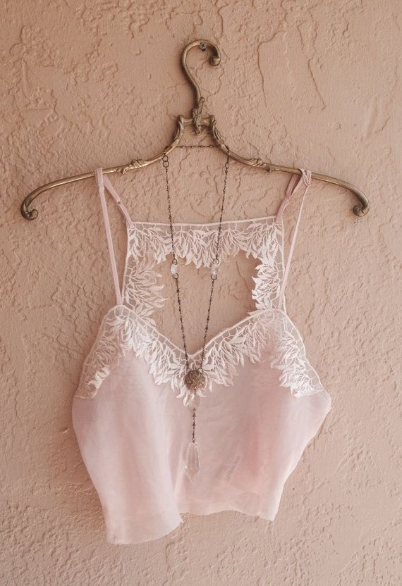 Pretty sheer Nude pink vintage crop silk cami with by BohoAngels, $40.00