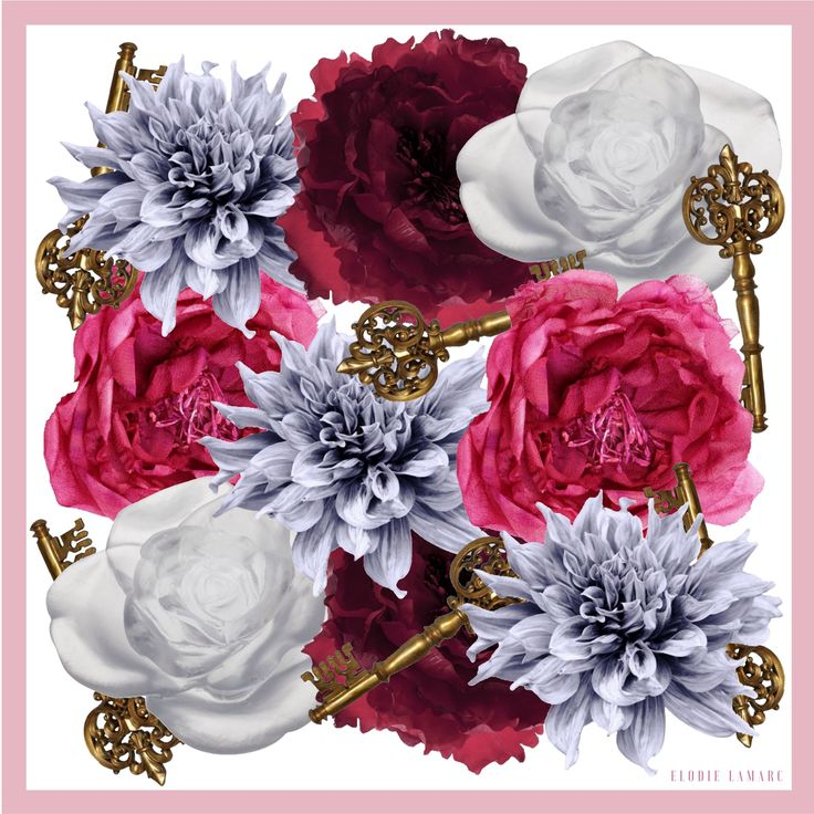 Jasmine Floral Key Print Scarf - White/Dusty Pink
