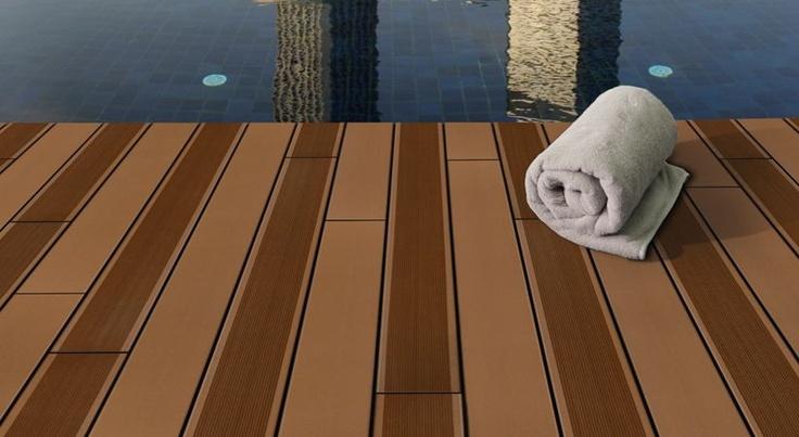 Caramel BamDeck Alternating Flat and Ridged.: Swim Pools Decks, Wood Planks, Bamboo Decks, Projects Cases, Swim Pools Wood, Bamdeck Alternative, Alternative Flats, Poolwood Plastic, Pools Wood Plastic