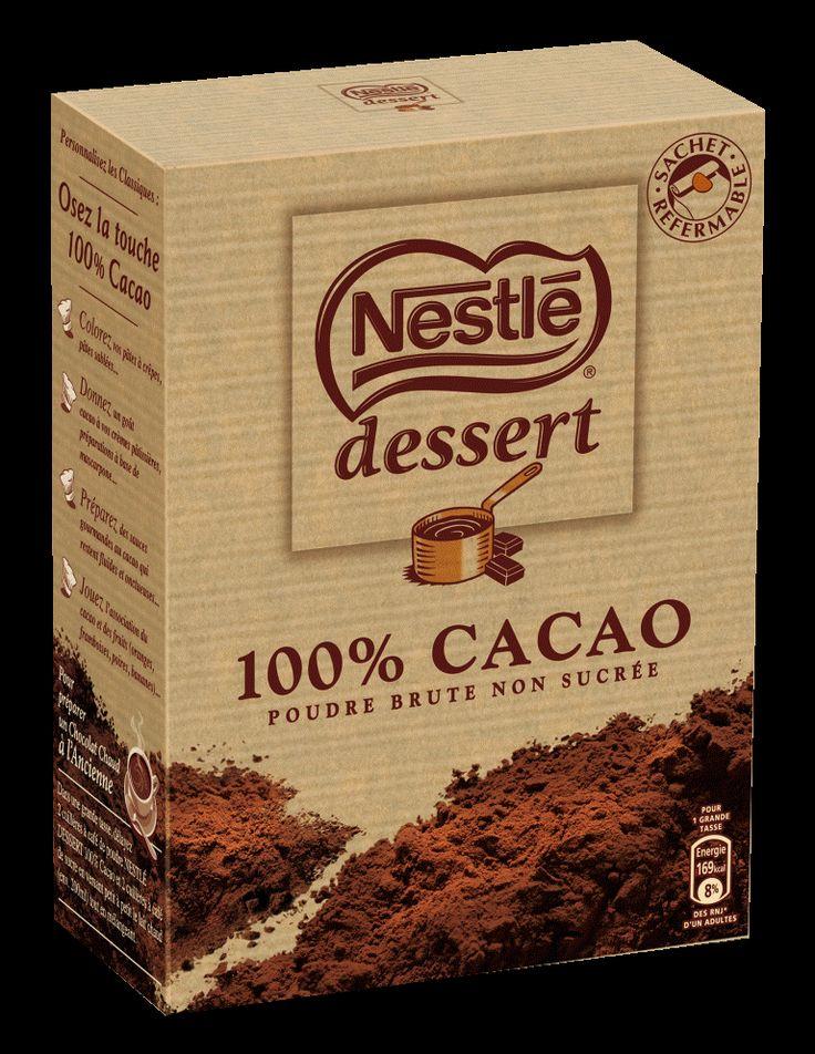 Fonction: le packaging traduit la gourmandise et le coté tradition et enfantin avec les souvenirs des gâteaux de maman. C'est pour cela que la marque est complétée par « Dessert ».  Communication: l'image véhiculée par le produit à travers le packaging est la cuisine et les recettes c'est d'ailleurs pourquoi Nestlé mentionne des idées de recettes derrière ses boites. Mais surtout la qualité du produit ici le cacao 100% pas de sucre ajouté, seul le cacao.