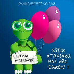 Cartão de aniversário atrasado com desenho de tartaruga. Esqueceu do aniversário do seu amigo ou amiga? Ainda dá tempo de enviar este cartão. Compartilhe.